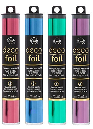 Deco Foil Transfer Sheets 6 Pack with Deco Foil Adhesive Pen Plum, Wild Cherry, Denim, Jade, Gold Shattered Glass, Silver Shattered Glass