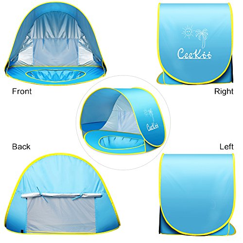 CeeKii Baby Beach Tent Pop Up Tent Portable Shade Pool UV Protection Sun Shelter with Mini Pool, Carry Bag and Detachable Shade for Toddler, Infant & Kids, 50+ UPF