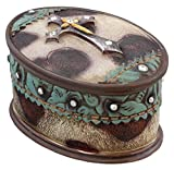 Western Layered Rhinestone Cross Jewelry Ring Trinket Box - Faux Cowhide Leather