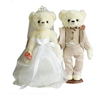 Lovely Bears, diseño de osos de peluche boda regalos (blanco velo/gris suit