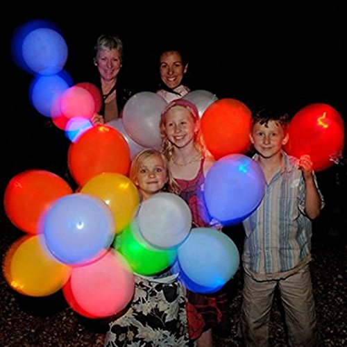 LED Light Up Balloons, Zeeneek 12'' 30 Pack Mixed Colors Party Pack Balloons for Birthday, Outdooring, Weddings, Girls night out, Bachelorette Party, Halloween and Christmas Decoration
