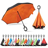 Sharpty Inverted Umbrella, Umbrella Windproof, Reverse Umbrella, Umbrellas for Women with UV Protection, Upside Down Umbrella with C-Shaped Handle (Orange)
