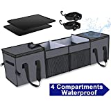 X-cosrack Car Trunk Organizer ,Storage with Insulation Cooler Bags for SUV,Truck,Automotive,Van,Cargo Collapsible Portable Multi Compartments with Straps, 4 Compartments Convertible, Washable