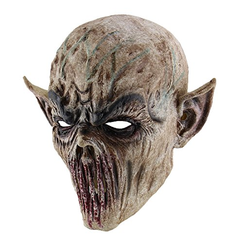 [Hophen Scary Halloween Mask Terror Ghost Devil Mask Dance Party Scary Biochemical Alien Zombie Caps Mask] (Horror Mask)
