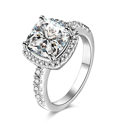 Sterling Silver Cushion Cut [Size 6] CZ Solitaire Crystal Engagement Ring - [4 Carat] Cubic - 2day Shipping Free