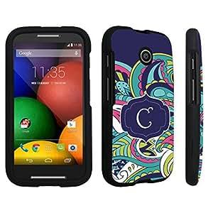 DuroCase ? Motorola Moto E (2014 Released) Hard Case Black - (Mint Flower Monogram C)
