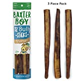 "Baxter Boy 12-inch Odor Free Premium Grade Bully Sticks Dog Treats [JUMBO-THICK SIZE], (3 Pack) – 12"" Long Natural Gourmet Chews Dog Treat – Fresh & Tasty With Beef Flavor – 60% Longer Lasting Review"