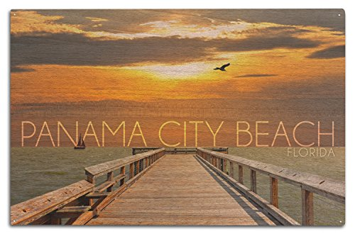 Panama City Beach, Florida - Pier at Sunset (10x15 Wood Wall Sign, Wall Decor Ready to - Pier Panama In City