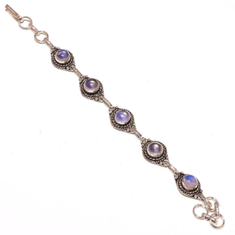 White Opalite Sterling Silver Overlay 15 Grams Bracelet 7-9 Best Jewelry