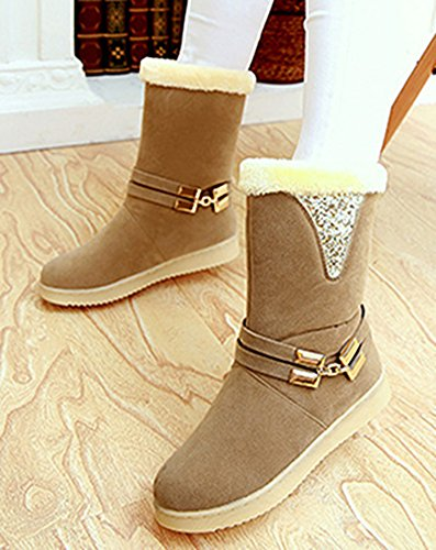 Snow Women's Winter Sequins Fur Booties Boots IDIFU Calf Lined Camel Flat Antiskid Mid OY6qxOvnWZ