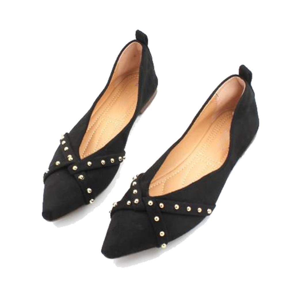 a930066ac228c Amazon.com: August Jim Women's Ballet Flats Shoes Rivet Shallow ...