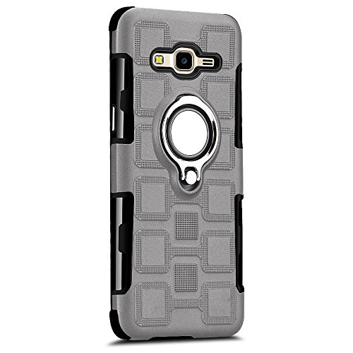 Case Compatible with Galaxy J7 NEO Ultra-Thin Silicone TPU J7 Nxt Ring Kickstand Cover Magnetic Car Mount Bumper Shell (Gray, J7 NEO)