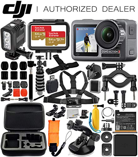 DJI Osmo Action 4K Camera with Underwater LED Light & Deluxe Accessory Bundle - Includes: 2X SanDisk Extreme 64GB microSDHC Memory Card, Carrying Case, Selfie Stick, Flexible Tripod & More (Best Underwater Pocket Camera)