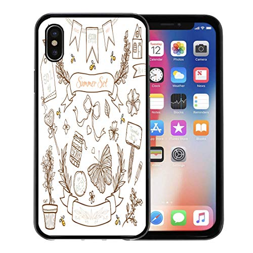 Emvency Phone Case for Apple iPhone Xs Case/iPhone X Case,Label Chic Other Country Shabby Bunting Floral Cute Cozy Soft Rubber Border Decorative, - Bunting Cozy