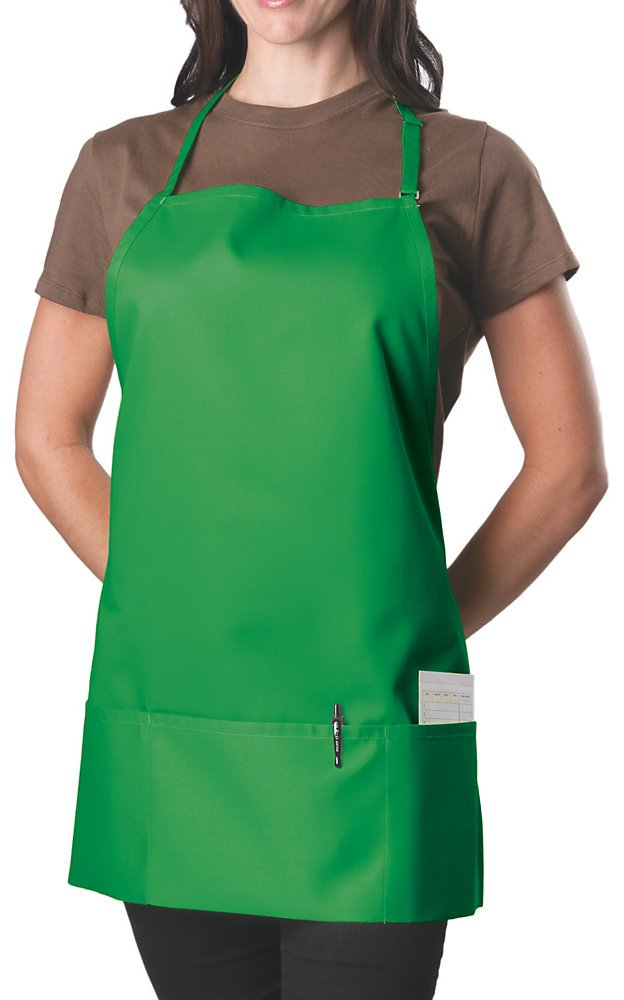 3 Pocket Adjustable Bib Apron, 27 inch, Kelly Green, pack of 60