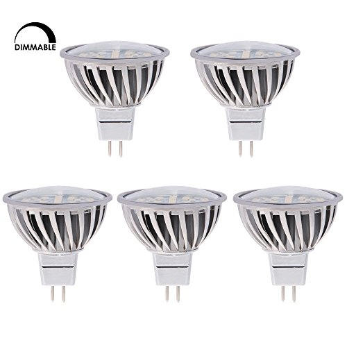HERO-LED MR16-DIM-24T-DW Dimmable MR16 GU5.3 12V LED Halogen Replacement Bulb, 120 Degree Wide Beam Floodlight, 4.8W, 50W Equivalent, Daylight White 5000K, 5-Pack