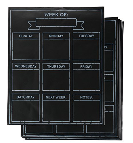 Juvale 6-Sheets Adhesive Chalkboard Weekly Planners, Peel and Stick Wall Decals for Meal Planning, Daily Tasks, Grocery Shopping, Refrigerator, Self-Adhesive Sticker, 16 x 13 Inches