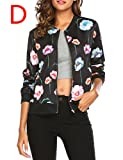 Zeagoo Women's Graffiti Print Short Bomber Jacket Coat (Large, Black)