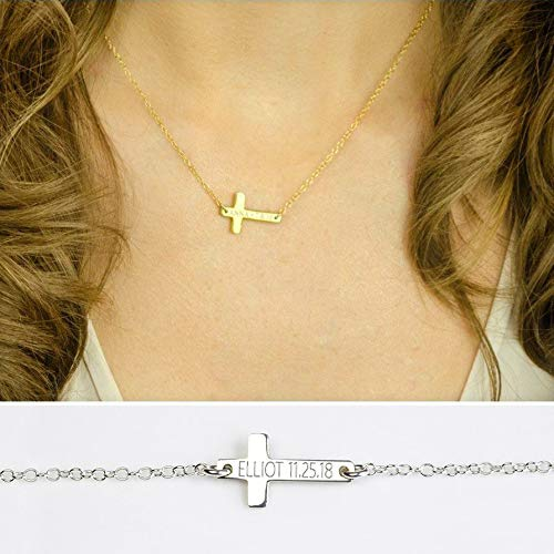 Personalized Cross Necklace Engraved with a Name, Date, Coordinates, Gold Filled or Sterling Silver Bar Necklace, Engraving Both Sides