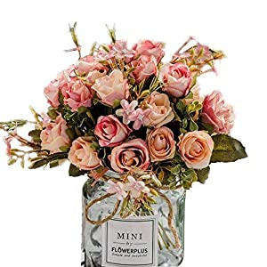 Maylife 3Pck Artificial Flowers Aritificial Silk Rose Flower Bouquet DIY Craft Home Wedding Party Decoration Cemetery Hotel Party Garden Floral Rose Flower Pink 16