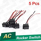 uxcell® 5pcs On/off Wired Rocker Switch