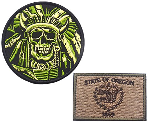 Embroidery Indian Features and OREGON State Flag Velcro Patc