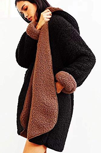 Capuche En Oudan Kaki Noir M coloré Manteau Laine Pour Fluffy Air Épais Hiver Taille Femmes Peluche Chaud Plein Tz6trz