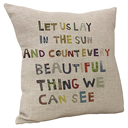 Vanki Letters Printed serial Cotton Linen Square Decorative Throw Pillow Case Cushion Cover 18 x 18 inches , colorful Love Sayings pattern