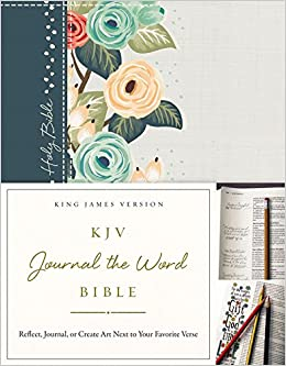 KJV, Journal the Word Bible, Cloth over Board, Green Floral, Red