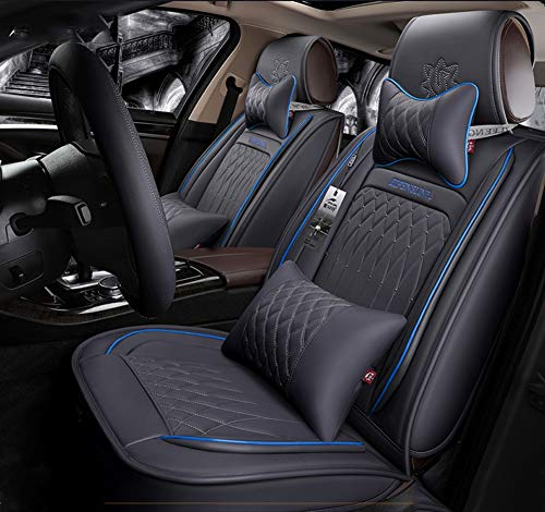 Easy To Clean PU Leather Car Seat Cushions 5 Seats Full Set - Anti-Slip Suede Backing Universal Fit Covers Adjustable Bench for 99% Types of Cars,Gray: