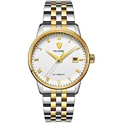 TEVISE Men's Fashion Dress Automatic Watch Thin White Dial Golden and Silver Band
