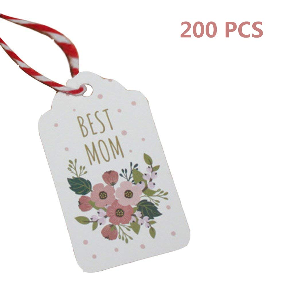 Obling Kraft Gift Tags Best Mom DIY Paper Gift Tags with String, 200pcs Cards with 131.2 inches Cotton Thread