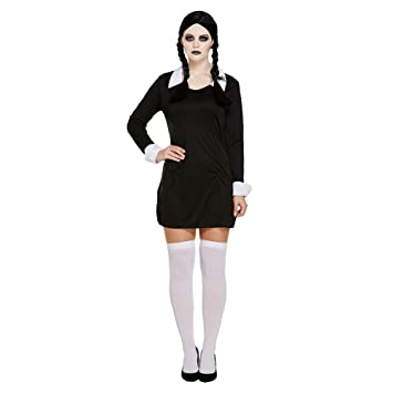 cc8db813a84 Creepy School Girl + Black Wig + Stockings Ladies Halloween Fancy Dress  Costume (Women: One Size)