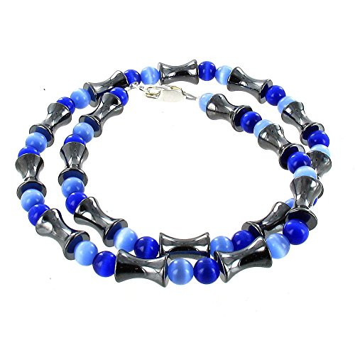 Blue Cats Eye (Fiber Optic) & Hematite (Hemalyke) Men's Beaded Necklace - 16