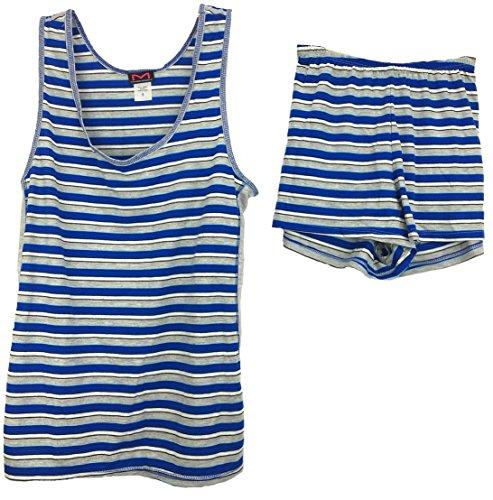 Maidenform 2 Piece Pajama Set, Tank and Shorts (Medium, Blue/Grey Stripe) by Maidenform