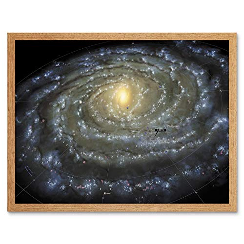 Space Map Milky Way Galaxy Spiral Stars Solar System Art Print Framed Poster Wall Decor 12x16 inch