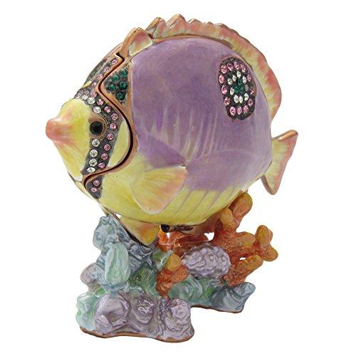 Orchid Purple Kissing Gourami Fish Figurine Enameled Trinket Jewelry Box with Swarovski Elements Crystals