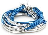 Lizzy Classic Silverplated 6 Strand Gloss Sky Blue Leather Wrap Bracelet (XXLarge (7 1/2'' - 7 3/4''))