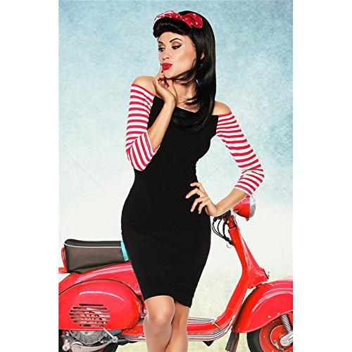 Mela Proibita - Sexi kleid carmen-ausschnitt hülle streifen weiß rot vintage etuikleid tanz moda - Schwarz, S