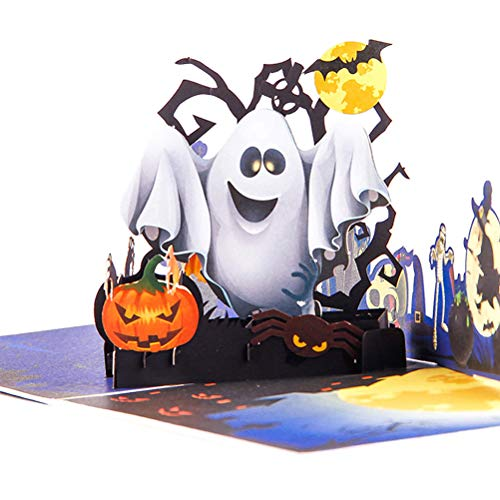 ENJOYPRO Halloween Cards, 3D Pop Up Witch Ghost Halloween Greeting Cards, Handmade Happy Halloween Cards for Kids Boyfriend Girlfriend (3D Ghost, Pack of ()