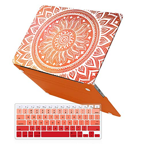 iCasso MacBook Air 13 inch Rubber Coated Soft Touch Hard Shell Protective Case Cover for MacBook Air 13 Inch Model A1369/A1466 with Keyboard Cover (Orange (Orange Soft Rubber)