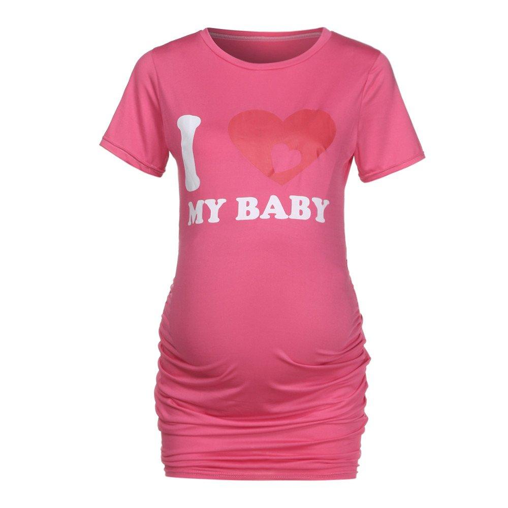 Bxzhiri_Women Tops Short Sleeve Nurse Pregnant Maternity Mother Print T-Shirt Blouse Hot Pink by Bxzhiri_Women Tops (Image #2)