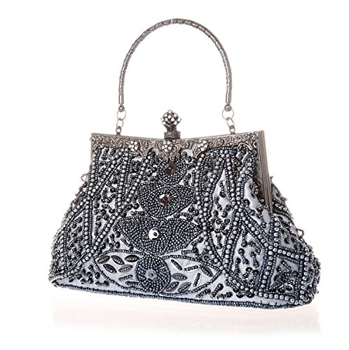 Handheld Cocktail Wallet Handmade Party Vintage Purse Wedding Evening Bridal Silvery Handbag Beaded Bag Grey Seed Clutch 0nzq7ax