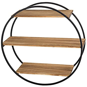 MyGift Industrial Modern 22-Inch Circle-Frame 3-Tier Floating Shelf