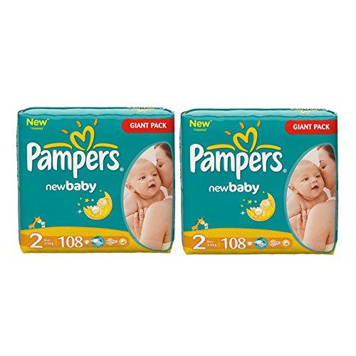 Pampers Baby Dry - Pañales mini, talla 2, 3-6 kg, hasta 648 unidades Talla:Mini 1 x 108 stk: Amazon.es: Bebé
