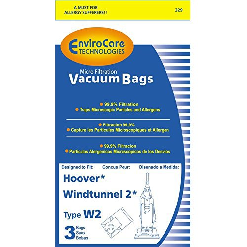 6 Hoover Sort W2 Windtunnel Allergy Vacuum Bag, Bagged, Upright Vacuum Cleaners, W2, 401080W2