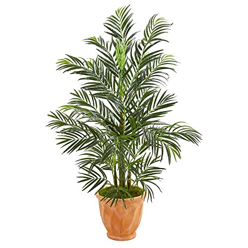 4' Palm Green - Nearly Natural 5623 4' Areca Palm Tree in Terra Cotta Planter UV Resistant (Indoor/Outdoor) Artificial Plant, Green
