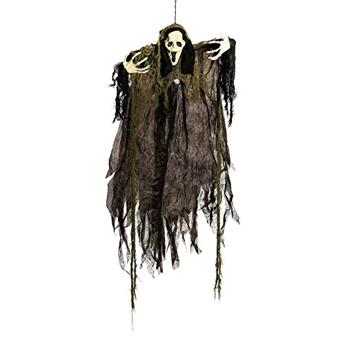 Halloween Haunters 4 Foot Hanging Screaming Open Mouth Ghost Prop Decoration - 1/3 Life-Size Scale Scary Grey, Black and White Ghoul Face - Haunted House Graveyard Entryway Display -