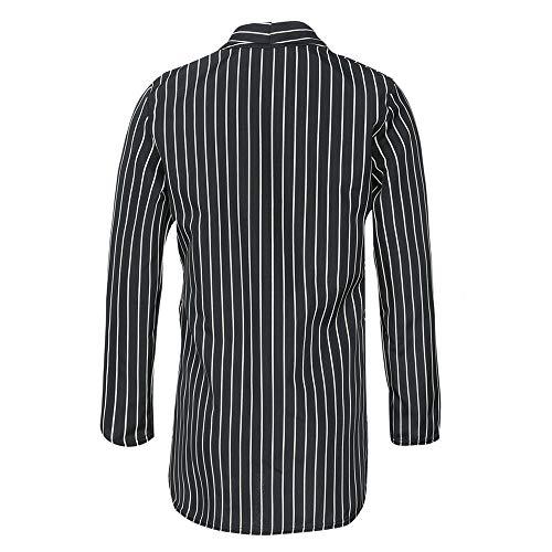Plumero La Traje Jacket Chaqueta Estilo K De Larga Rayas Elegante Oficina Con Abrigo Blazer Outwear youth Mujer Negro Manga X66qfvz
