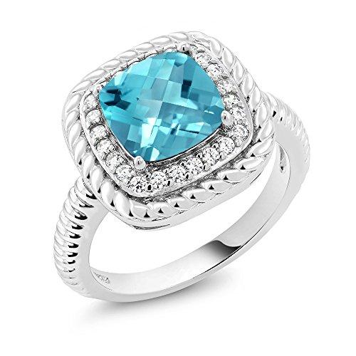 (Gem Stone King 925 Sterling Silver Checkerboard Swiss Blue Topaz Engagement Ring 2.75 Ct Cushion Cut Gemstone Birthstone (Size 7))